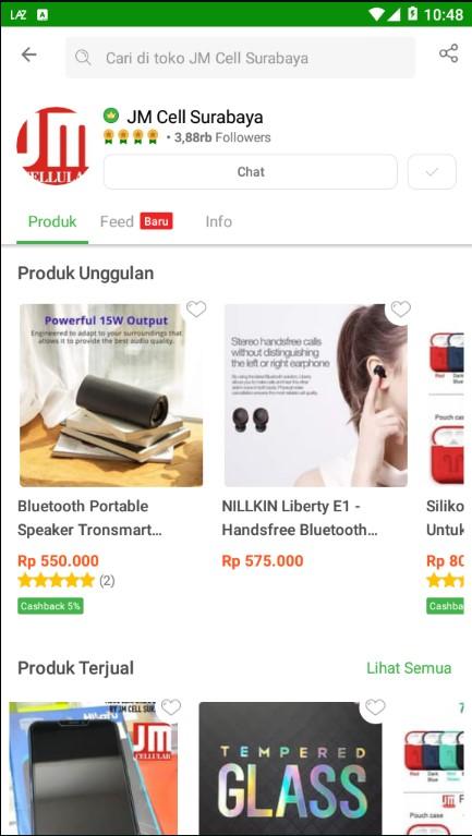 Profile Toko Aksesoris Handphone JM Cell Surabaya di Tokopedia.