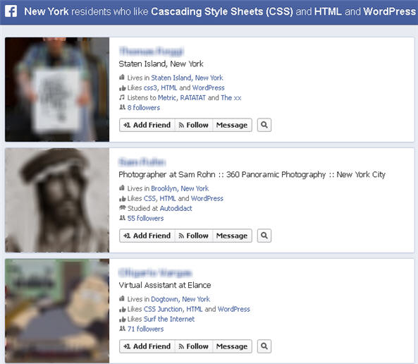 Facebook graph search for HTML and CSS professionals
