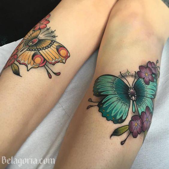 un precioso tatuaje de maariposa en la piel de una mujer