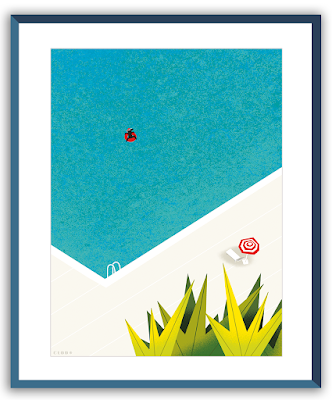 Clod illustration Seul dans la piscine