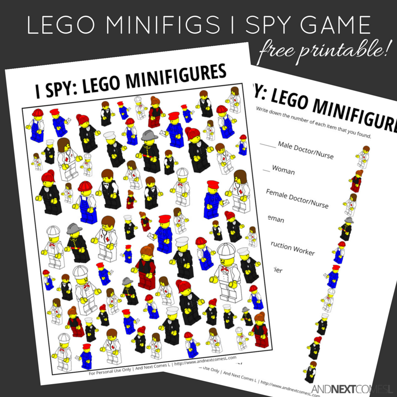 LEGO Minifigures Themed I Spy Game {Free Printable for Kids} | And ...