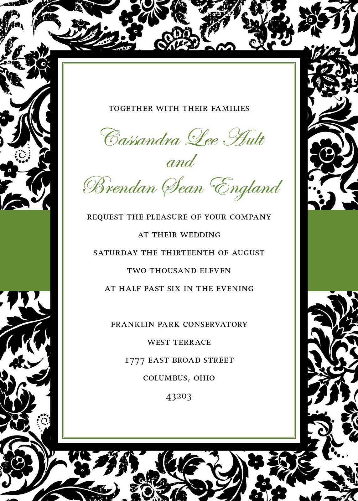 mkaydesigns black and avocado damask invitations