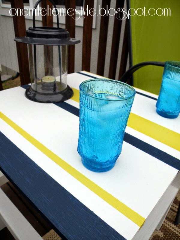 White, Navy and Citron striped outdoor table