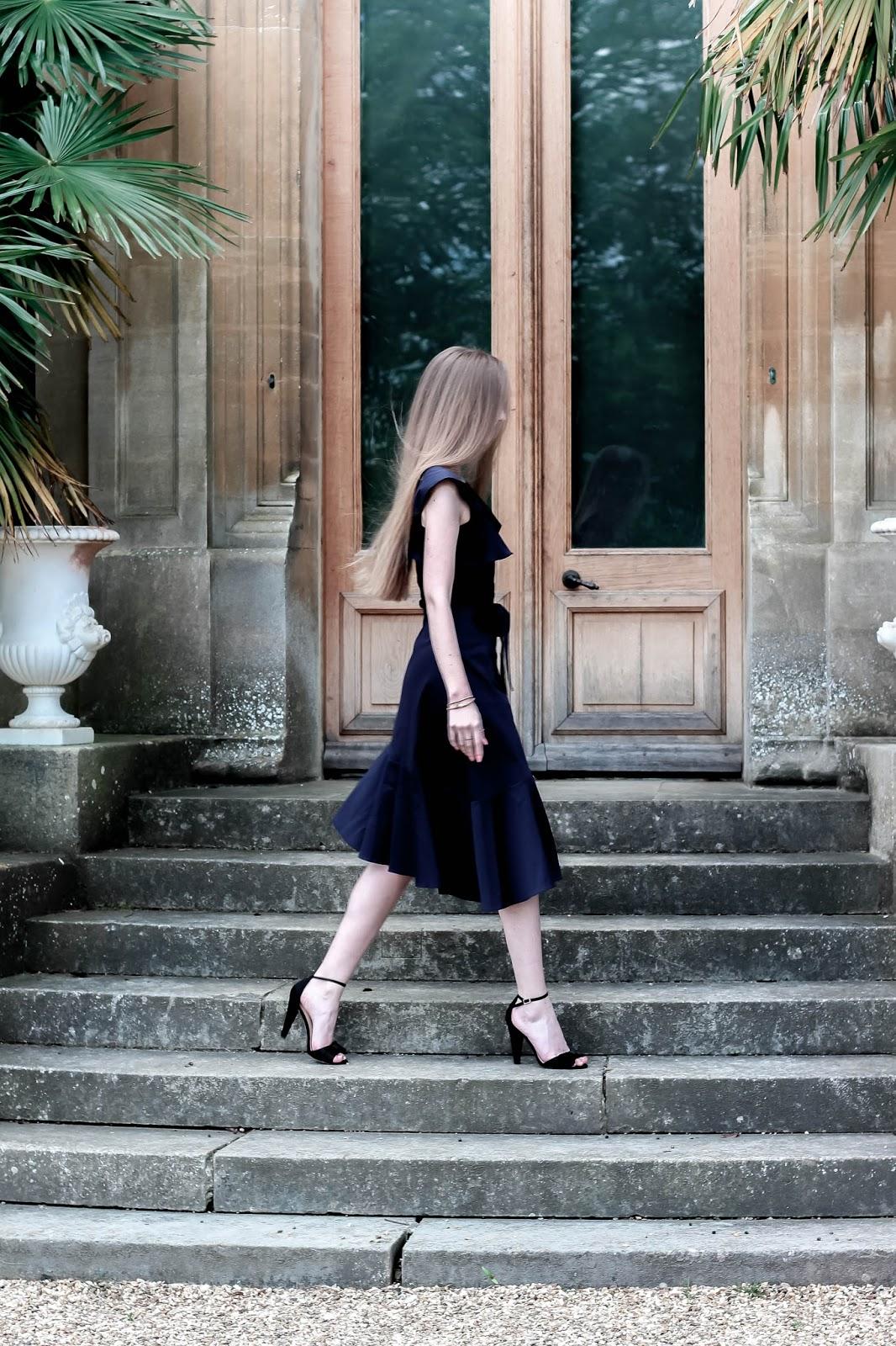 Coast Jade Navy Blue Ruffle Dress Fashion Blogger