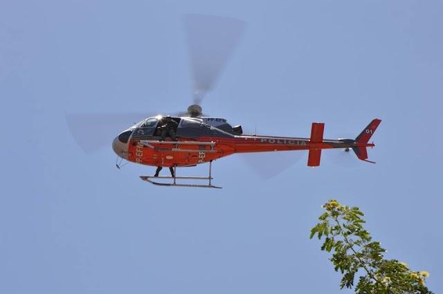Mucambo-CE: Com policiamento reforçado, helicóptero da polícia sobrevoa a cidade