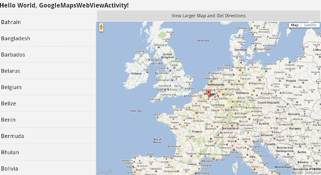 Android google maps WebView example