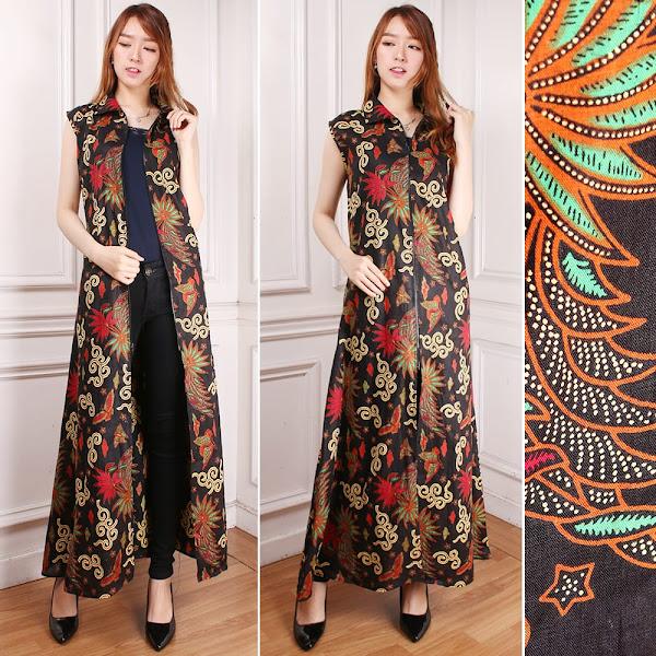 Gamis Maxi Dress Mega Cardigan Longdress Terusan Outer Blazer Batik
