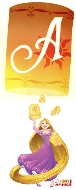 Alfabeto en Blanco de Rapunzel con Lámparas. Rapunzel with White Alphabet in Flying Lanterns.