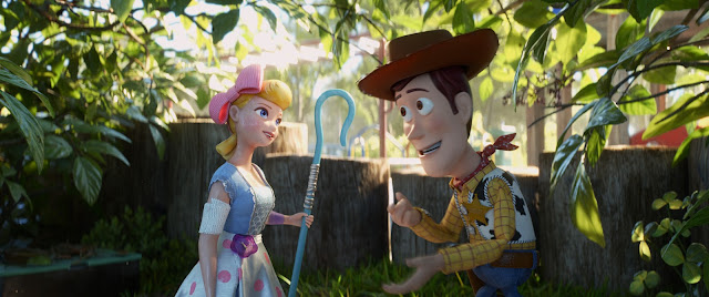 Bo Peep and Woody meet on a playground
