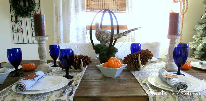 Thanksgiving Tablescape Ideas using blues and browns
