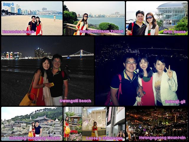 Busan (Haeundae Beach, Haedong Yonggung Temple, Dongbaek Park,   Haeundae Dalmaji-gil, Gwanggali Beach, Mt. Hwangryeongsan).