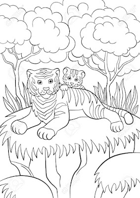 tiger in forest coloring pages