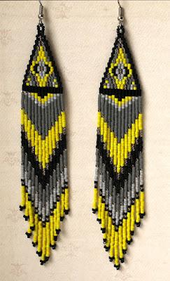 Яркие длинные серьги из бисера. Жёлтые с серым