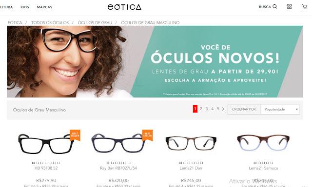a623cb5066275 Uma das mais famosas Óticas Online, a eÓtica é uma baita opção para Óculos  de Grau Masculino. Tem de várias marcas TIME, vale a pena dar uma passada  por lá, ...
