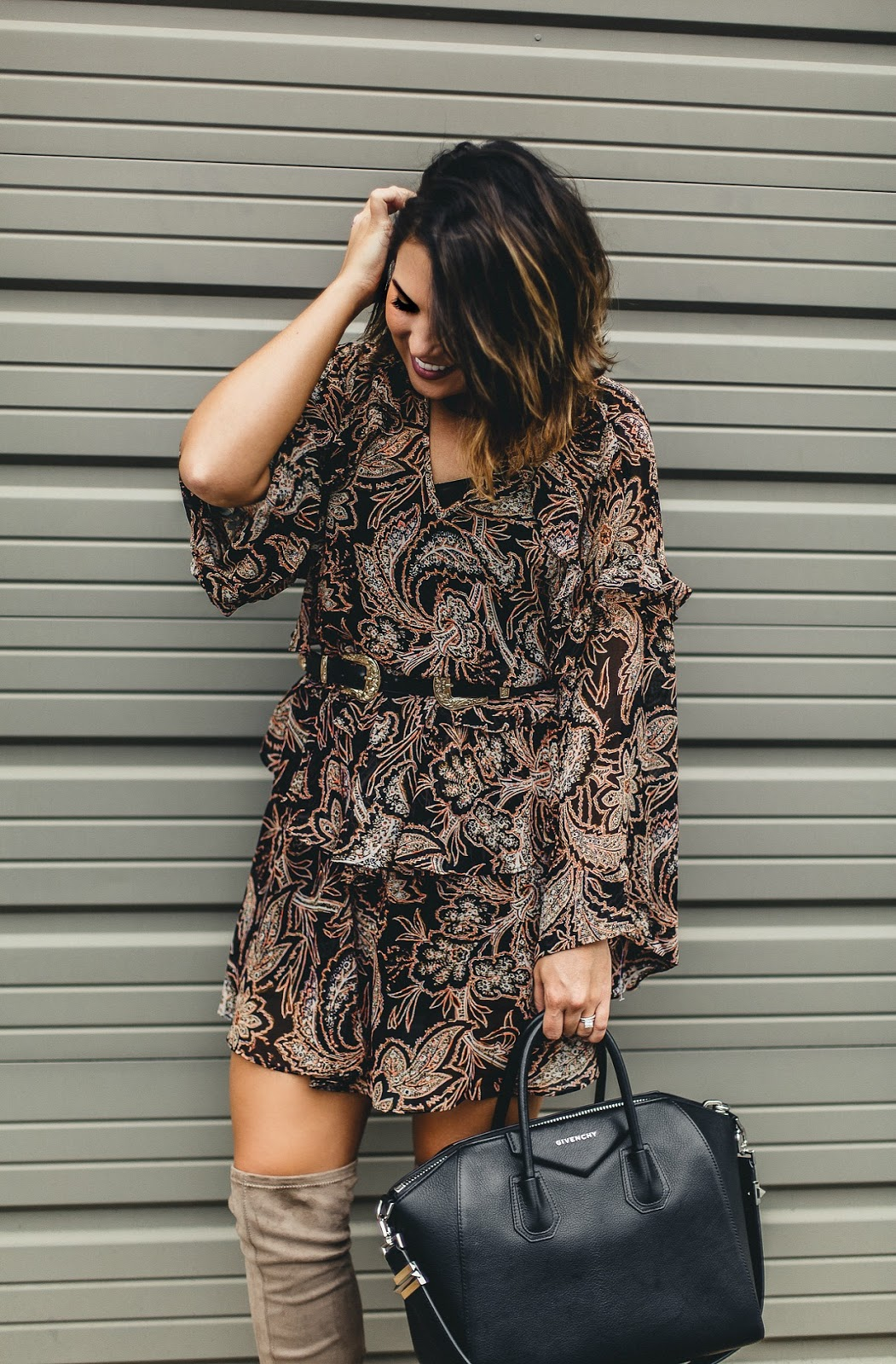 ruffle chiffon dress, nordstrom dress, over the knee boots, over the knee boots with dress, xo samantha brooke, life and messy hair