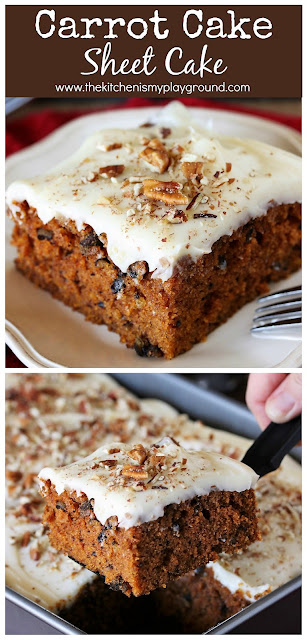 "Carrot Cake Sheet Cake with Cream Cheese Frosting ~ Tender, moist & delicious. A ""secret"" ingredient makes this carrot cake recipe fabulous without shredding a single carrot! #thekitchenismyplayground  www.thekitchenismyplayground.com"