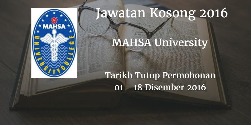 Jawatan Kosong MAHSA University 01 - 18 Disember 2016