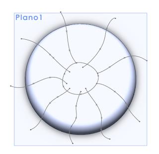 Croquis de las lineas de división de la calabaza en solidworks