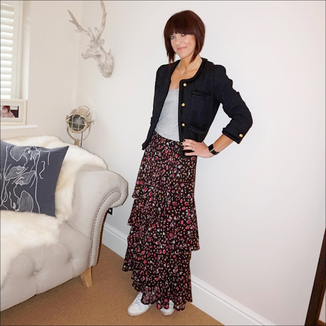 my midlife fashion, j crew lady jacket, j crew vintage cotton tank top, marks and specner tiered ditsy print a line skirt, golden goose superstar low top leather trainers