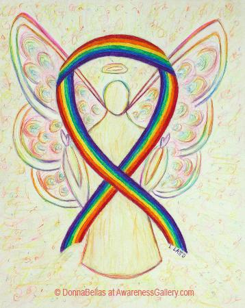 Rainbow Awareness Ribbon Angel Art Painting