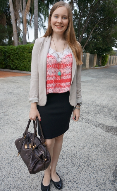 crochet print tank, black pencil skirt cream jersey blazer and chloe paddington summer office wear | away from the blue