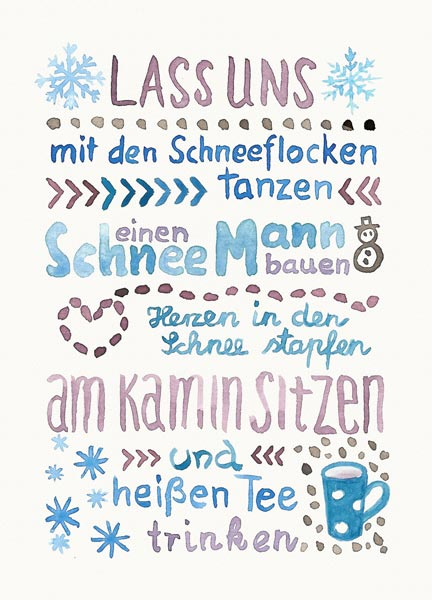 Lass uns Winter machen, watercolor lettering