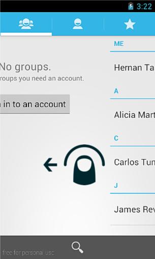Swipe Gesture en la aplicación Contactos de Android