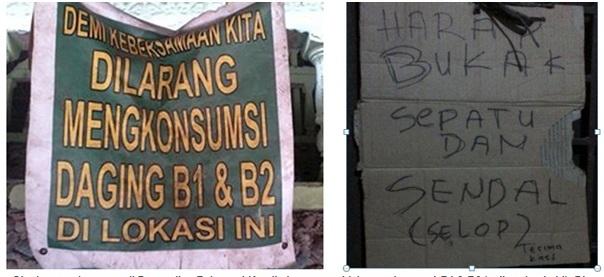 Pesan larangan di Pemandiana Babarsari Kutalimbaru agar tidak mengkonsumsi B1 & B2 (Anjing dab Babi)