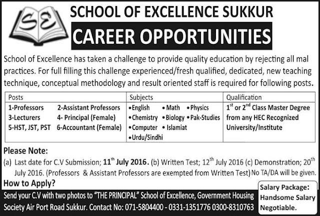 School of Excellence jobs in Pakistan for Teachers