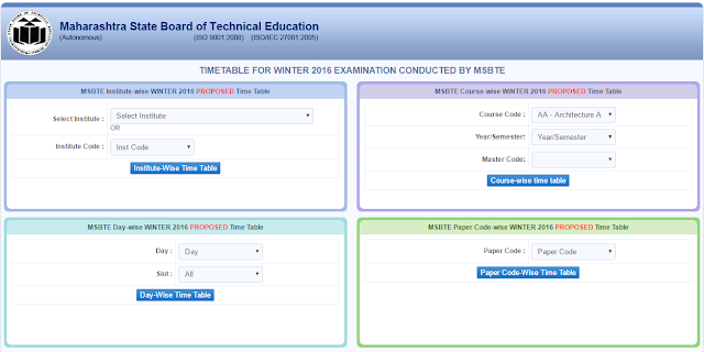 MSBTE Winter 2016 Examination Time Table