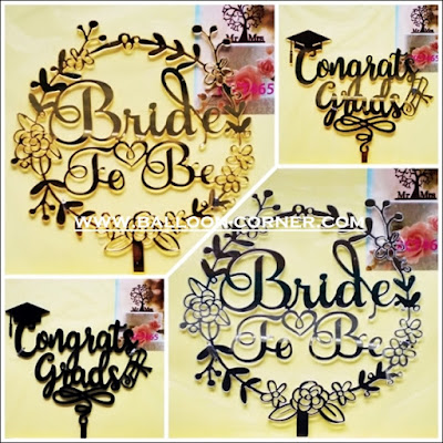 Cake Topper Acrylic Gold & Silver Motif BRIDE TO BE & CONGRATS GRAD