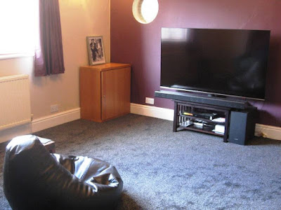 Bean bag chair, television and new carpet