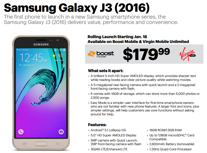 Boost and Virgin Mobile Getting $179.99 Samsung Galaxy J3 ...