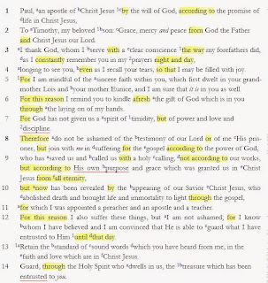 Structure in 2 Timothy 1 – Part 5