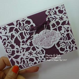 Detailed Florals Die Cut Card in Fresh Fig