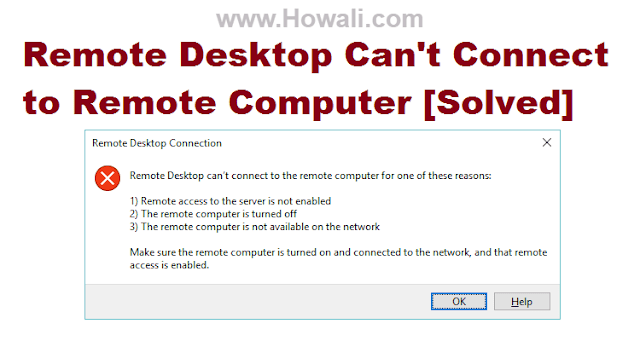 Remote Desktop Can't Connect to the Remote Computer in Windows 10