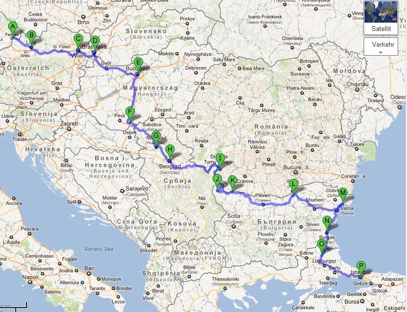 Istanbul Radtour 2012 Route Passau Istanbul Karte Aus Google Maps
