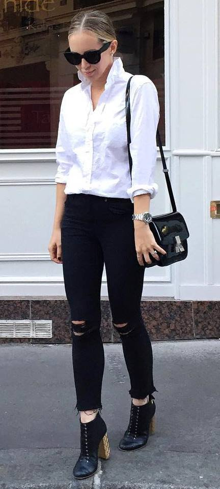 trendy white and black casual outfit: shirt + rips + bag