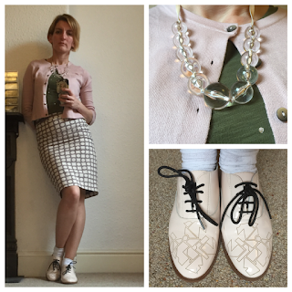 Boden t-shirt, cardigan and skirt, Clarks Shoes, Topshop Necklace