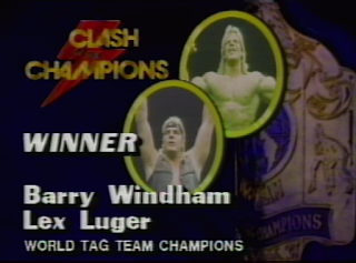 NWA CLASH OF THE CHAMPIONS 1 - 1988: Barry Windham & Lex Luger beat Arn Anderson and Tully Blanchard for the NWA World Tag Team Titles