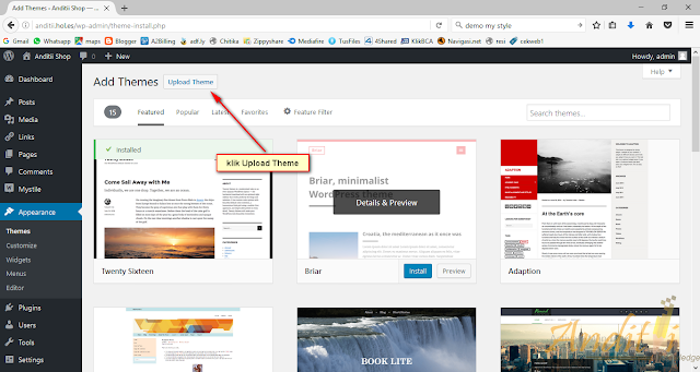 [Tutorial Toko Online 01] Cara mengganti Template Wordpress-anditii.web.id