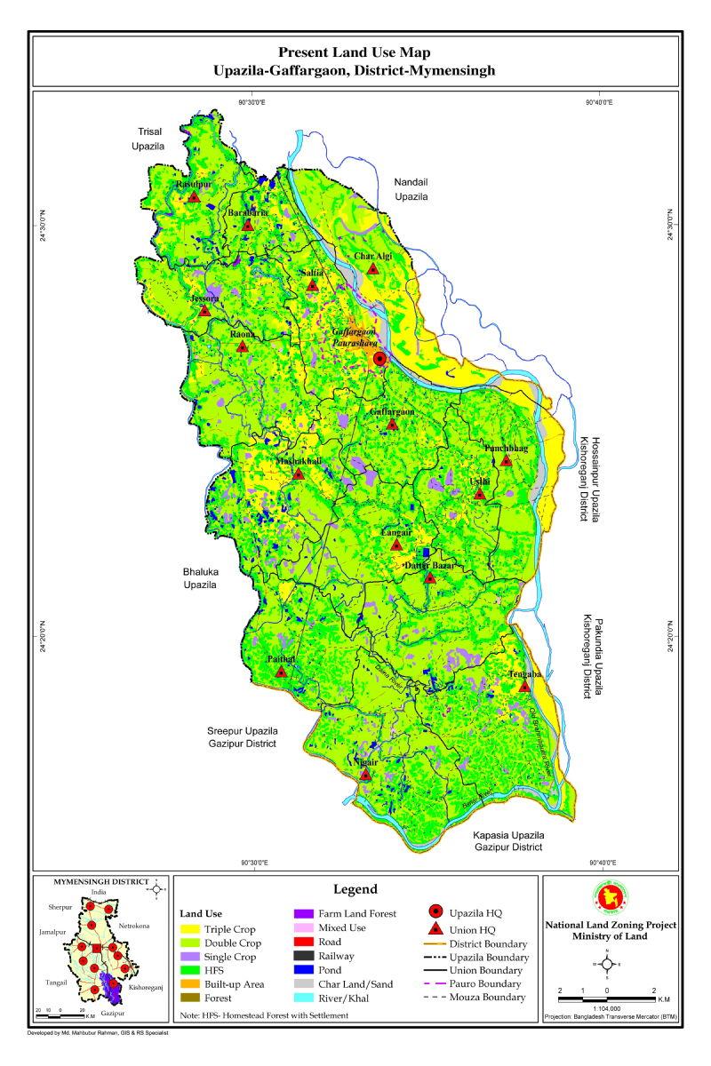 Gaffargaon Upazila Mouza Map Mymensingh District Bangladesh