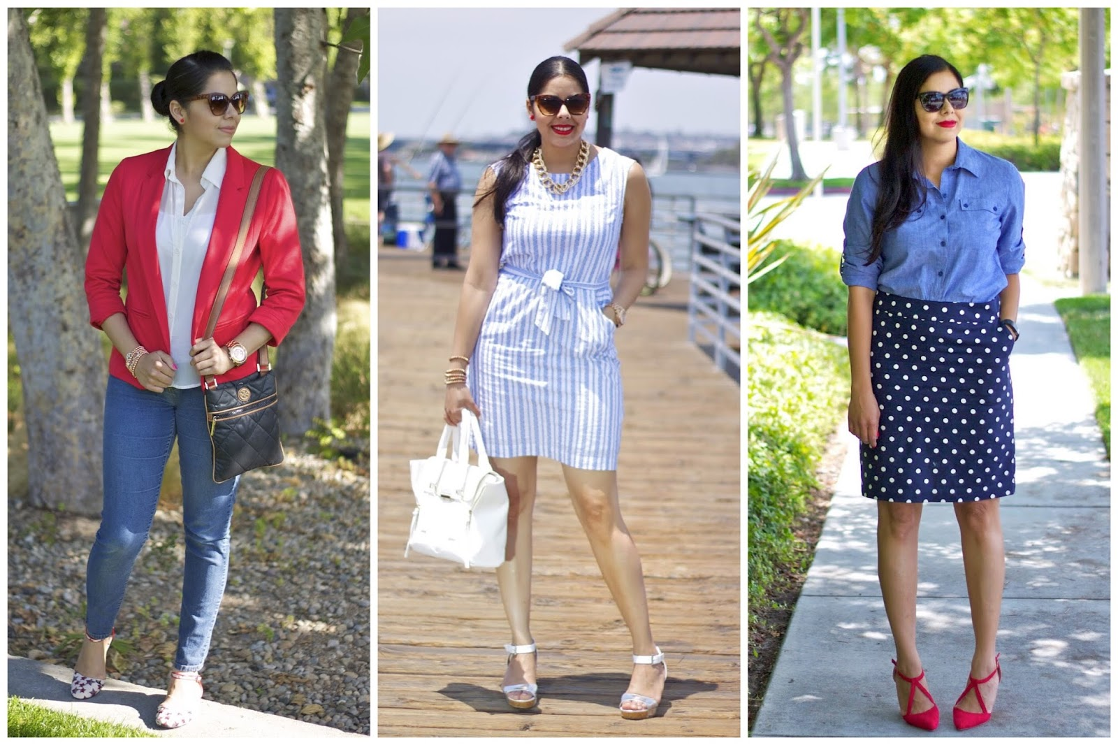 fourth of july outfit ideas, red white and blue outfits, chic red white and blue outfits