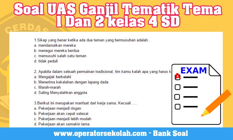 Soal UAS Ganjil Tematik Tema 1 Dan 2 kelas 4 SD