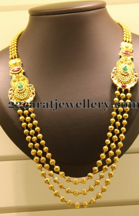 Gold Beads Necklace With Motifs Jewellery Designs