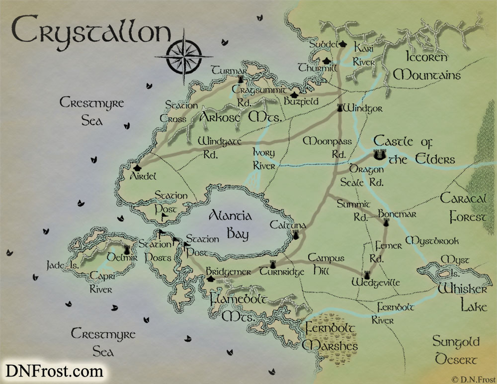 Crystallon, a map commission by D.N.Frost for Monica Spath http://DNFrost.com/portfolio