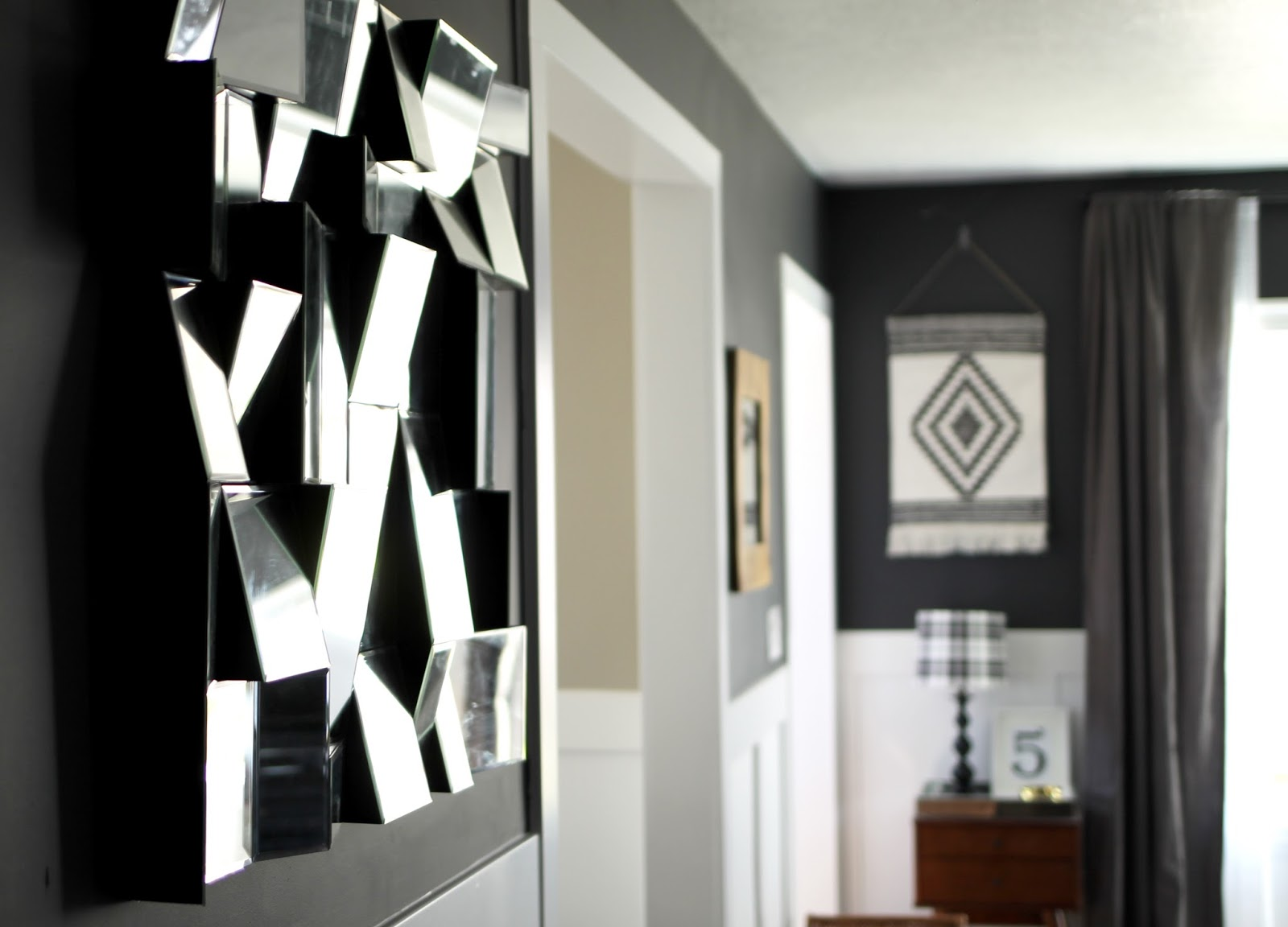 charcoal, living, room, modani mirror