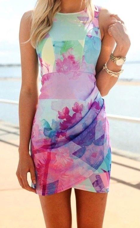 Summer Mini Cocktail Multicolor Dress