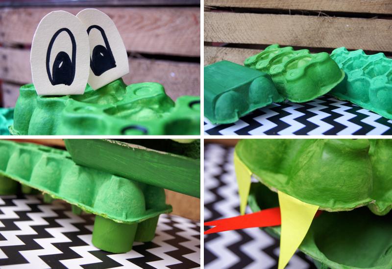 DIY. Zabawki z opakowań po jajkach - zrób to sam. Krokodyl.