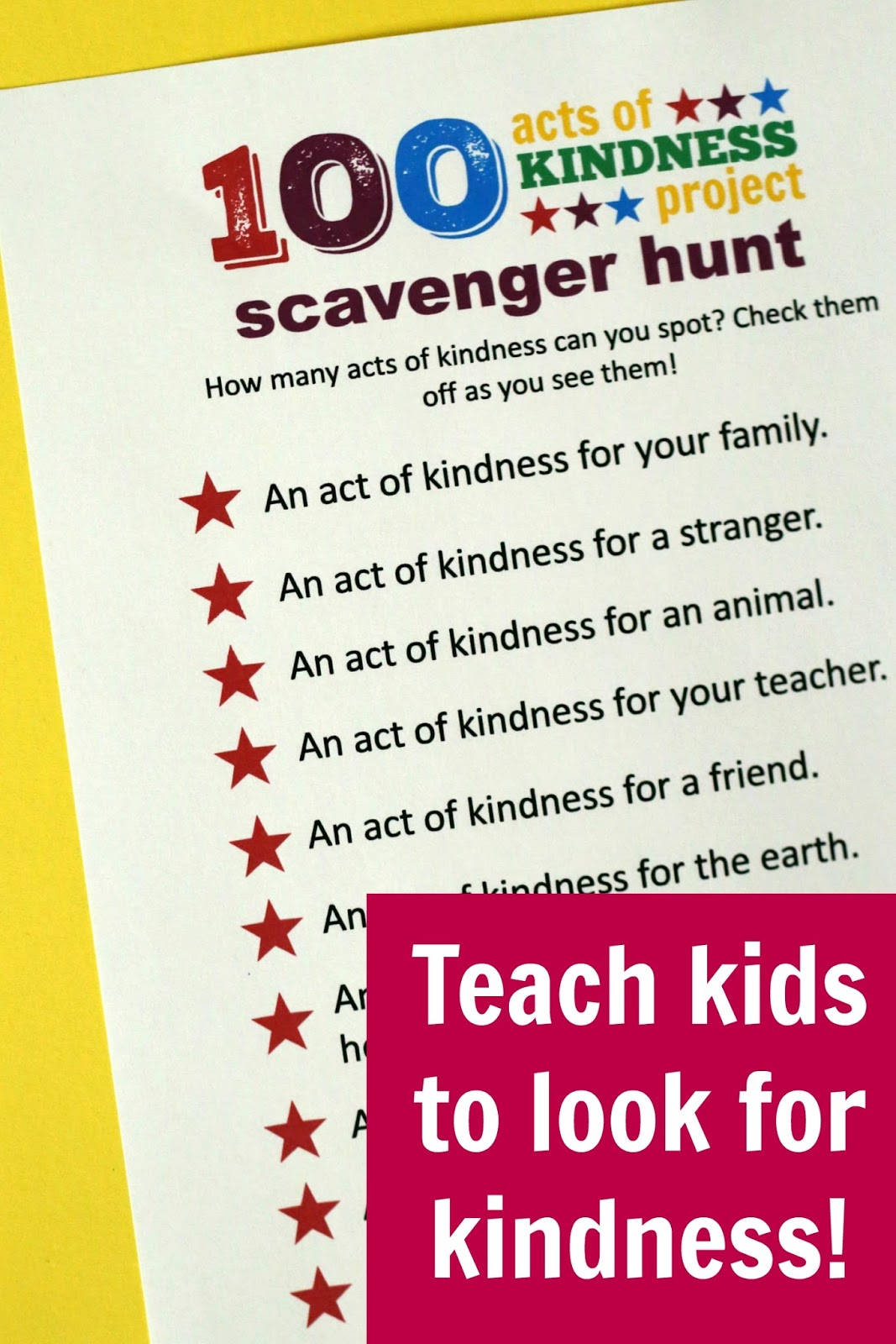 Toddler Approved Kindness Scavenger Hunt